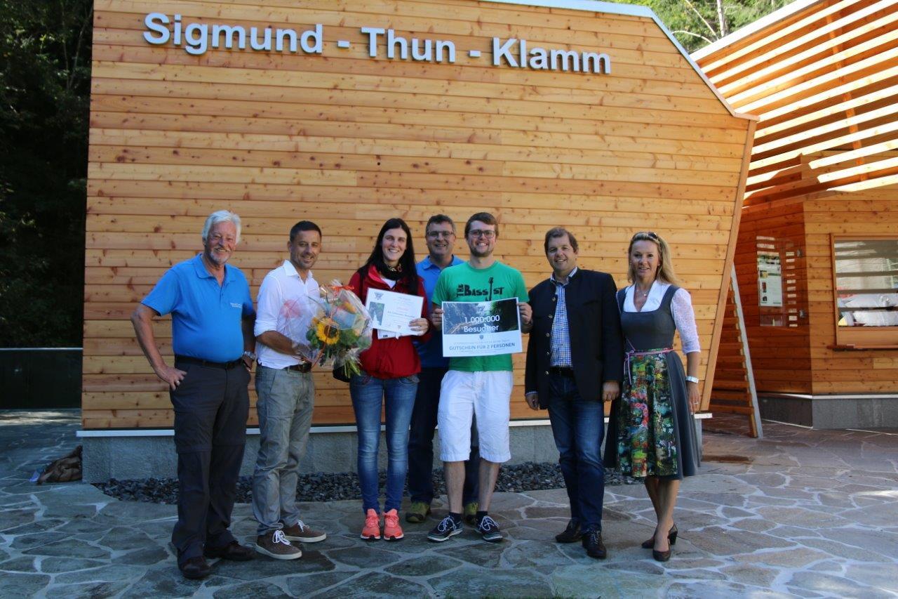 Sigmund Thun Klamm Kaprun | Ein millionsten Besucher